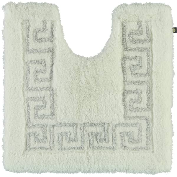 Rhomtuft - Badteppich Mäander - Farbe: weiss/weiss-silberlurex - 1322 Toilettenvorlage mit Ausschnit