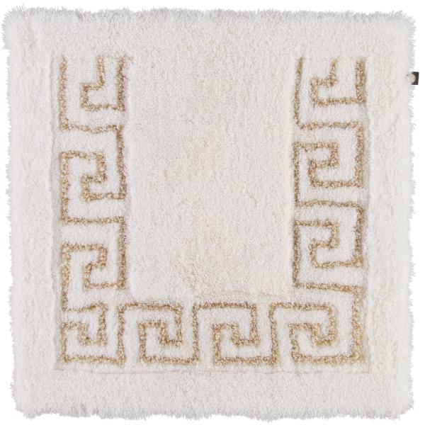 Rhomtuft - Badteppich Mäander - Farbe: weiss/weiss-goldlurex - 1321 Toilettenvorlage 60x60 cm