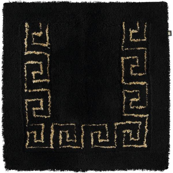 Rhomtuft - Badteppich Mäander - Farbe: schwarz/goldlurex - 938 Toilettenvorlage 60x60 cm