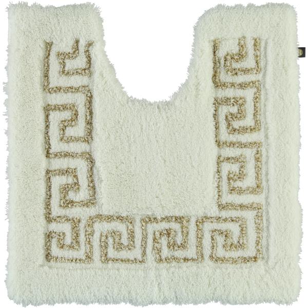 Rhomtuft - Badteppich Mäander - Farbe: weiss/weiss-goldlurex - 1321 Toilettenvorlage mit Ausschnitt
